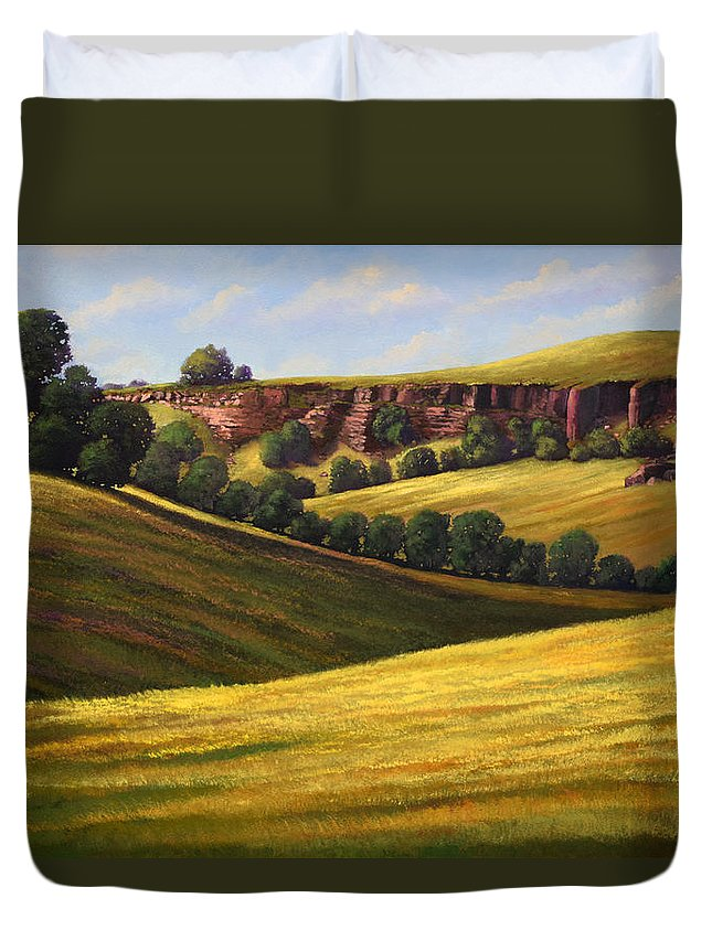 Landscape Duvet Cover featuring the painting Canyon Oaks by Frank Wilson