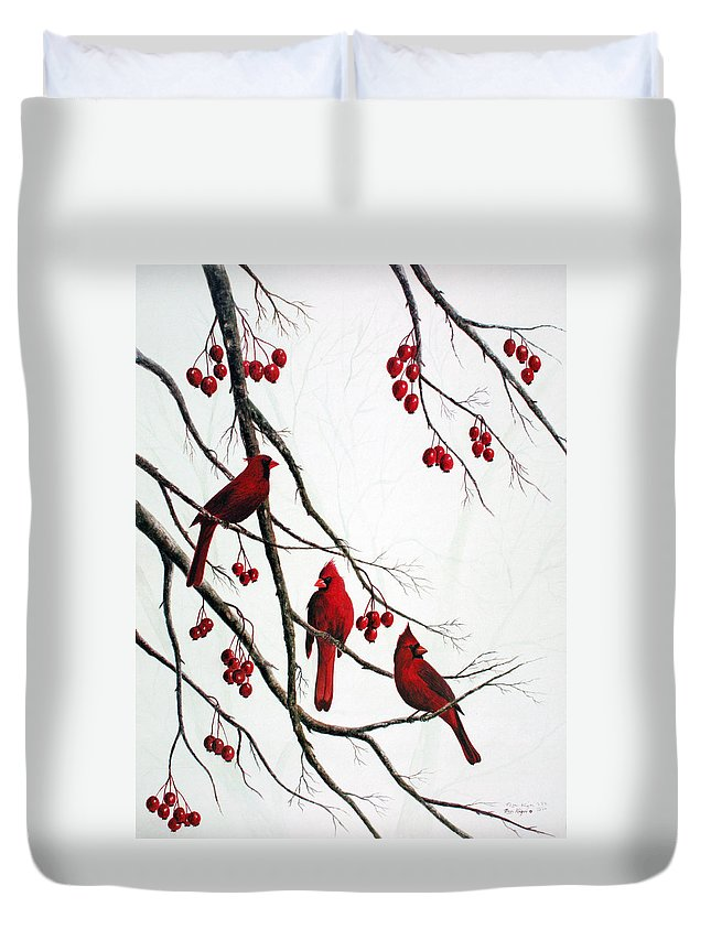 Birds; Cardinals; Trees Duvet Cover featuring the painting Cardinals And Crabapples by Ben Kiger
