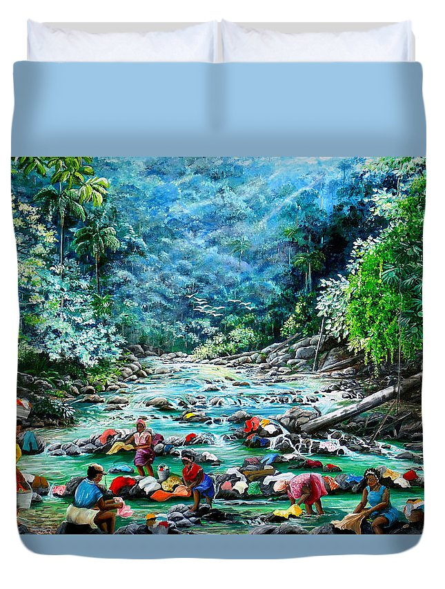 Land Scape Painting River Painting Mountain Painting Rain Forest Painting Washerwomen Painting Laundry Painting Caribbean Painting Tropical Painting Village Washer Women At A Mountain River In Trinidad And Tobago Duvet Cover featuring the painting Caribbean Wash Day by Karin Dawn Kelshall- Best