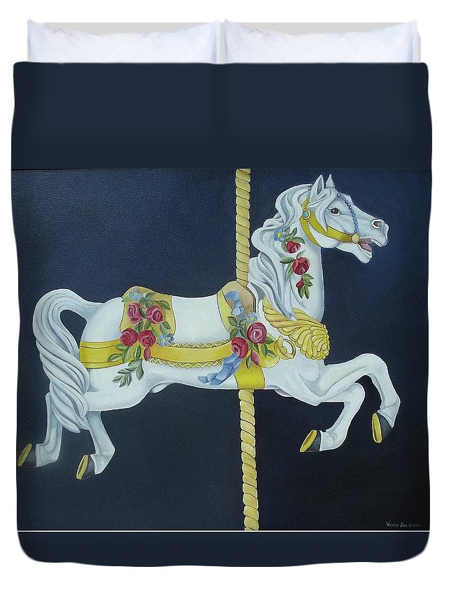 Horse Duvet Cover featuring the painting Carousel Horse 1 by Wanda Dansereau