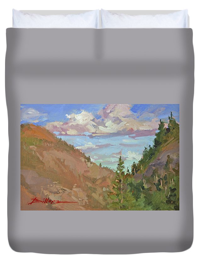 Montana Mountains Duvet Cover featuring the painting Carson Canyon by Betty Jean Billups