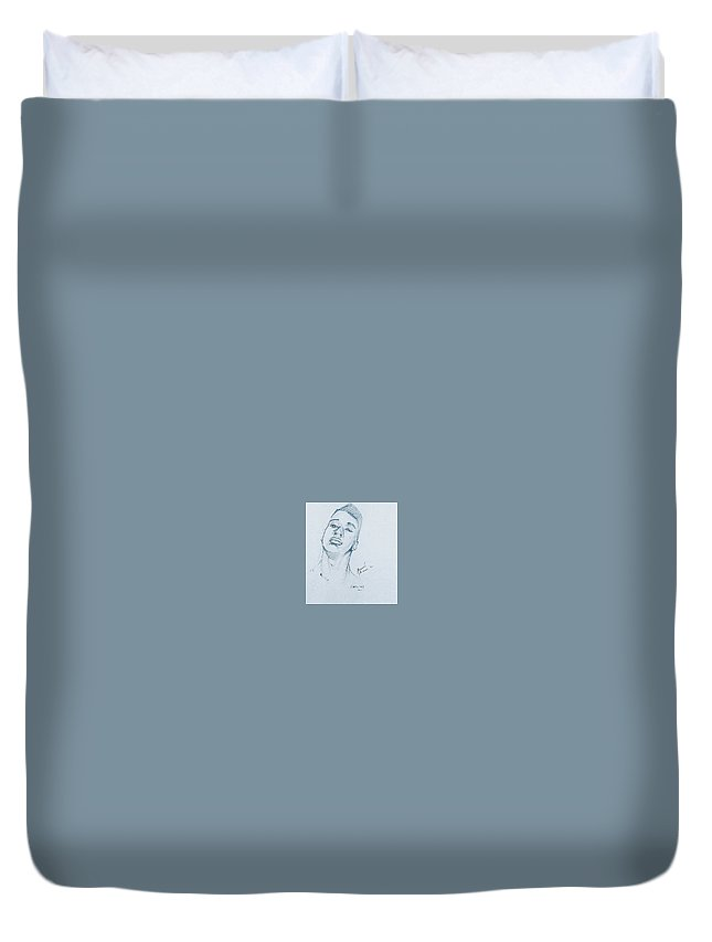 Portrait Duvet Cover featuring the drawing Cassius by Howard Stroman