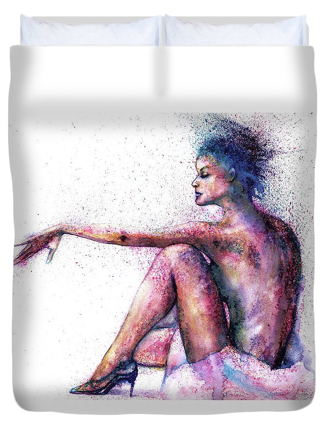 Woman Duvet Cover featuring the painting Cat original oil painting by Natalja Picugina
