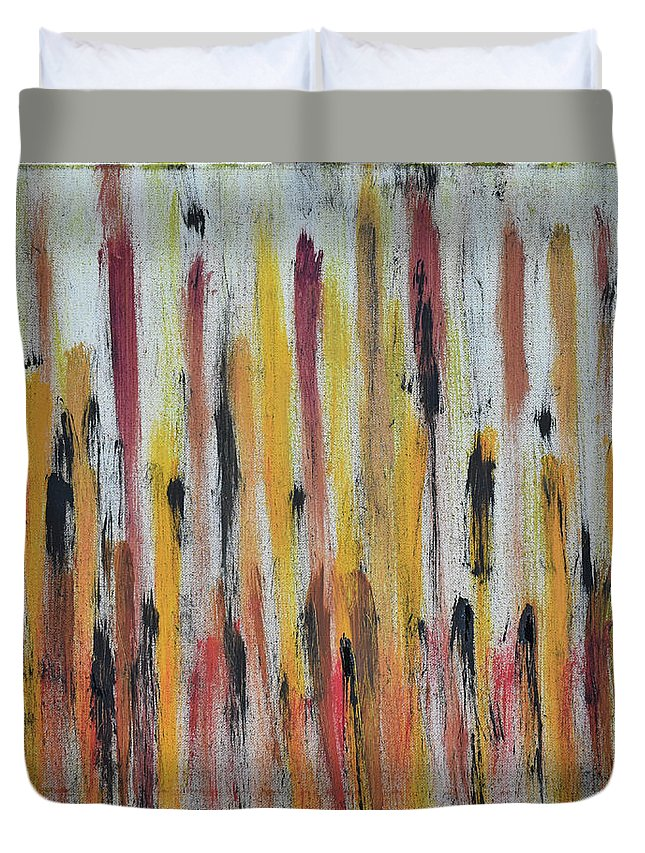 Red Duvet Cover featuring the painting Cattails at Sunset by Pam Roth O'Mara