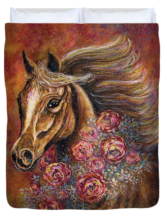 Horse Duvet Cover featuring the painting Champion by Natalie Holland