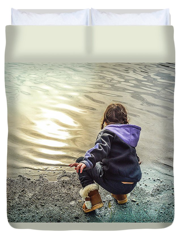 Child Duvet Cover featuring the photograph Chasing River Rainbows by Cindy Nunn