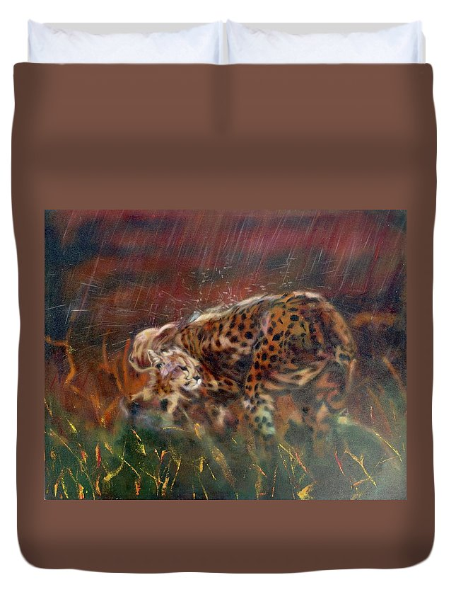 Oil Painting On Canvas Duvet Cover featuring the painting Cheetah Family After The Rains by Sean Connolly