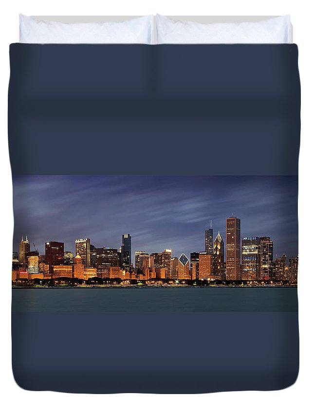 3scape Duvet Cover featuring the photograph Chicago Skyline at Night Color Panoramic by Adam Romanowicz