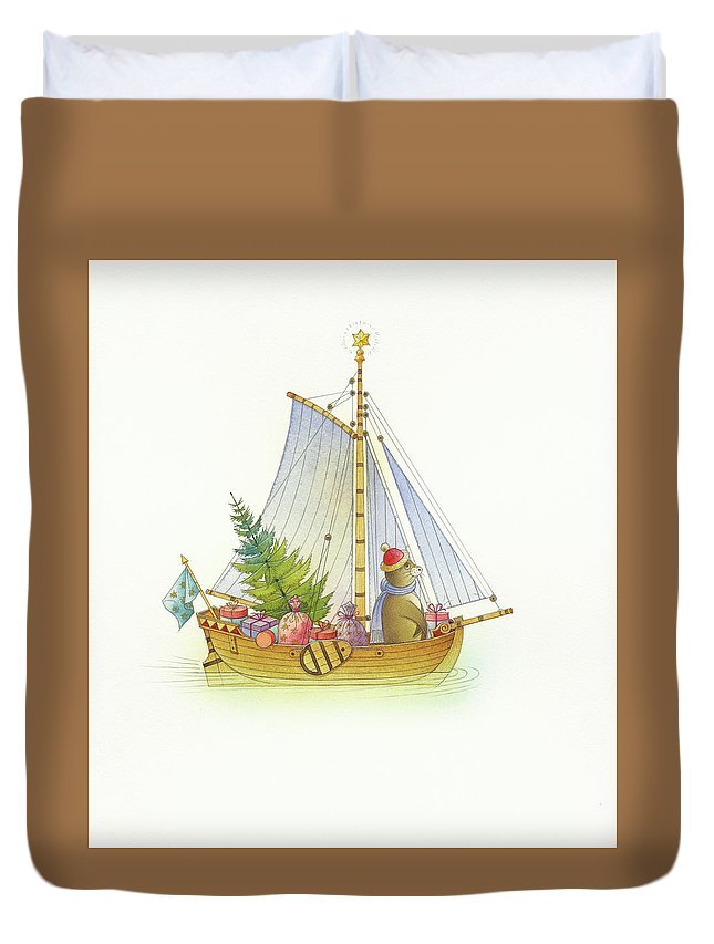 Boat Sea Winter Water Christmas Holydays Christmascards Duvet Cover featuring the drawing Christmas boat by Kestutis Kasparavicius