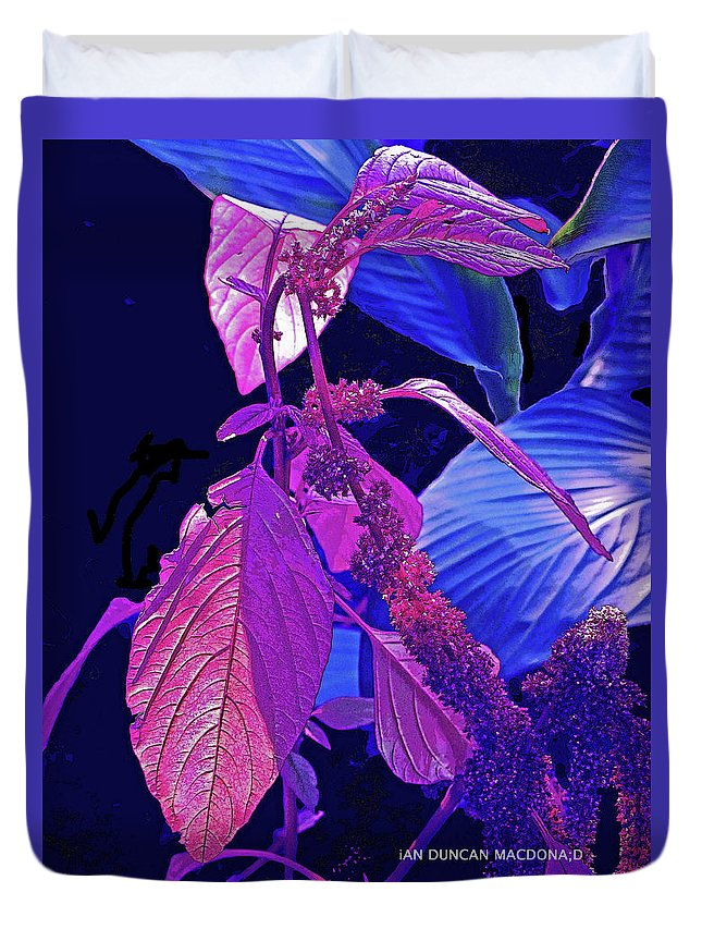 Blue Duvet Cover featuring the photograph Climbing Leaves by Ian MacDonald