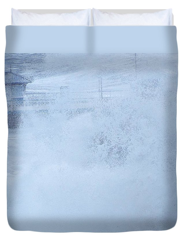 Waves Duvet Cover featuring the photograph Close one by Christopher Rowlands