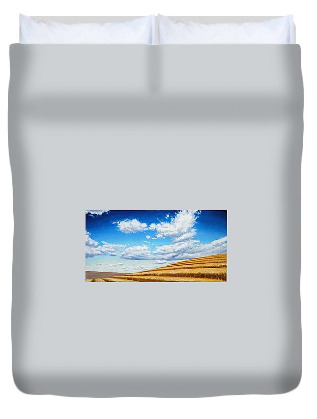 Palouse Duvet Cover featuring the painting Clouds on the Palouse near Moscow Idaho by Leonard Heid