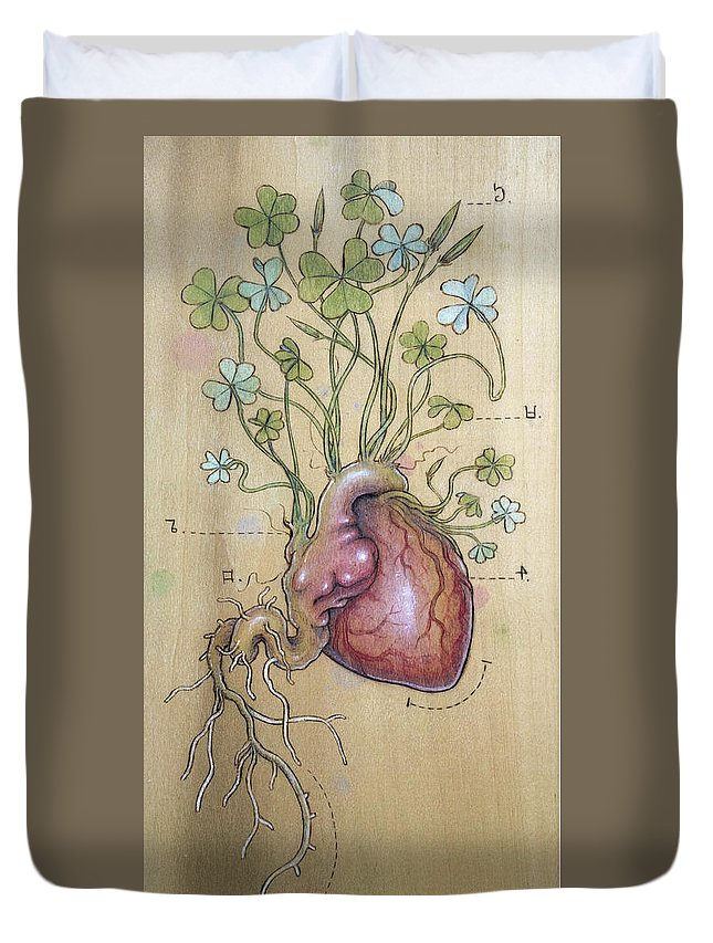 Clover Duvet Cover featuring the pyrography Clover Heart by Fay Helfer