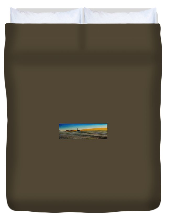Wheat Duvet Cover featuring the painting Cold Field at Dusk by Leonard Heid