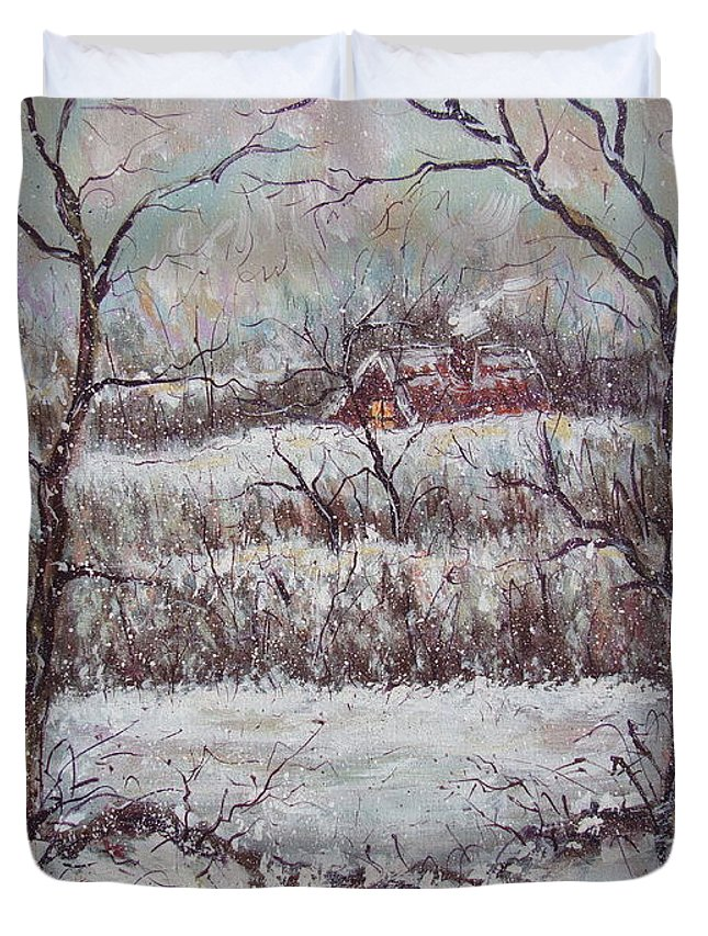 Landscape Duvet Cover featuring the painting Cold Winter by Natalie Holland