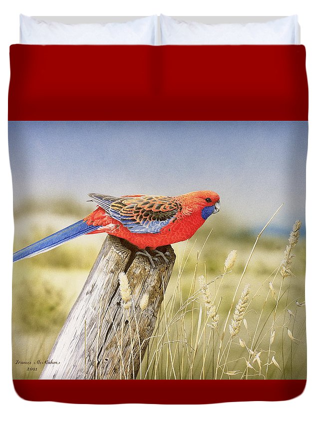 Bird Duvet Cover featuring the painting Colour and Light - Crimson Rosella by Frances McMahon