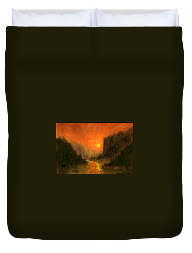 Miniatures Oil Paintings Duvet Cover featuring the painting Columbia Gorge Nocturn by Jim Gola