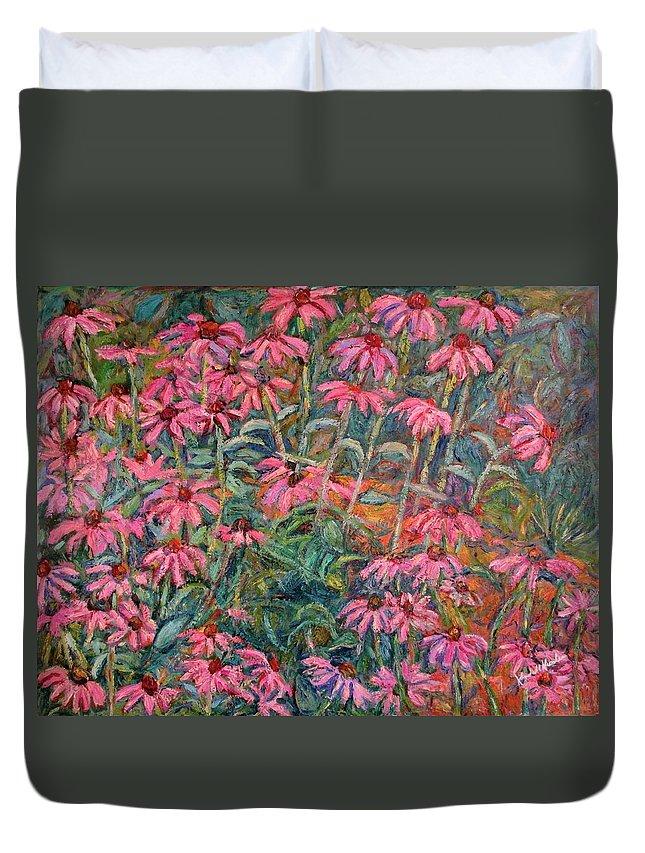 Kendall Kessler Duvet Cover featuring the painting Coneflowers by Kendall Kessler
