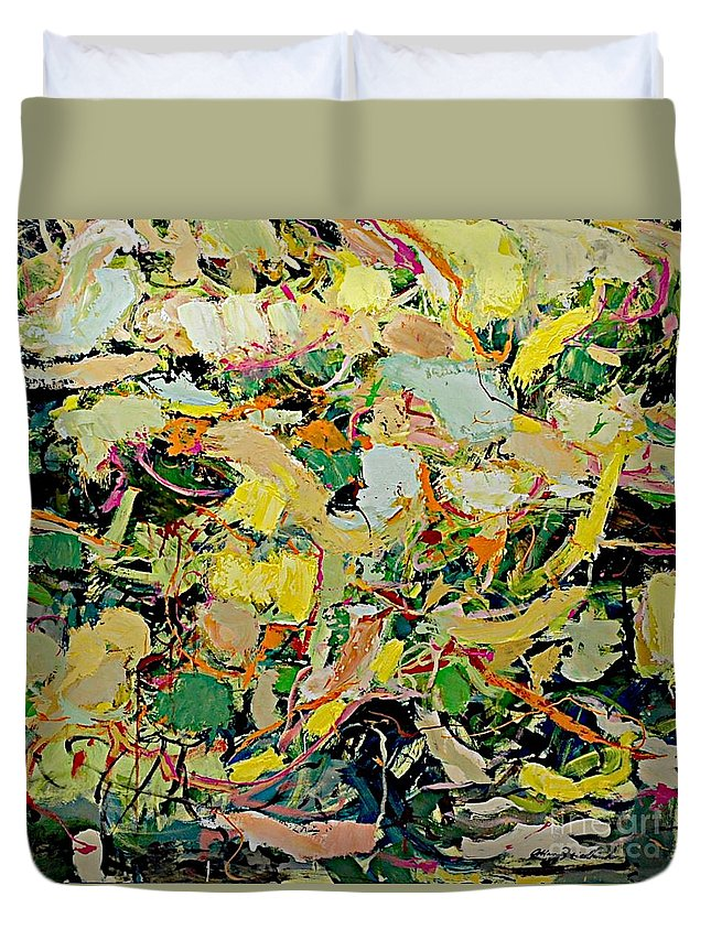 Landscape Duvet Cover featuring the painting Cotton Blossom by Allan P Friedlander