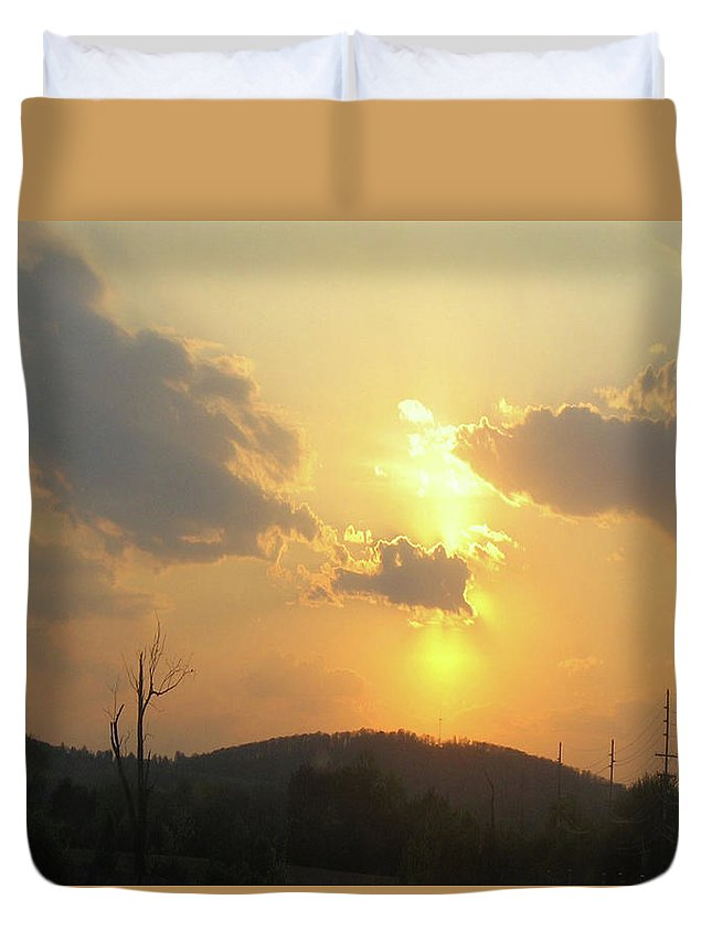 Sunset Duvet Cover featuring the photograph Country Sunset by Holly Morris