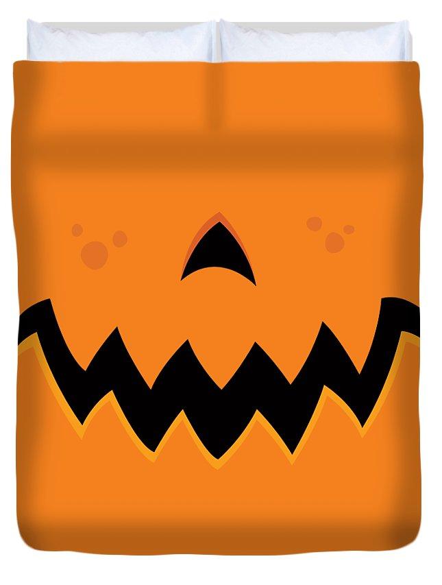 Pumpkin Duvet Cover featuring the digital art Crazy Pumpkin Jack-O-Lantern Mouth by John Schwegel