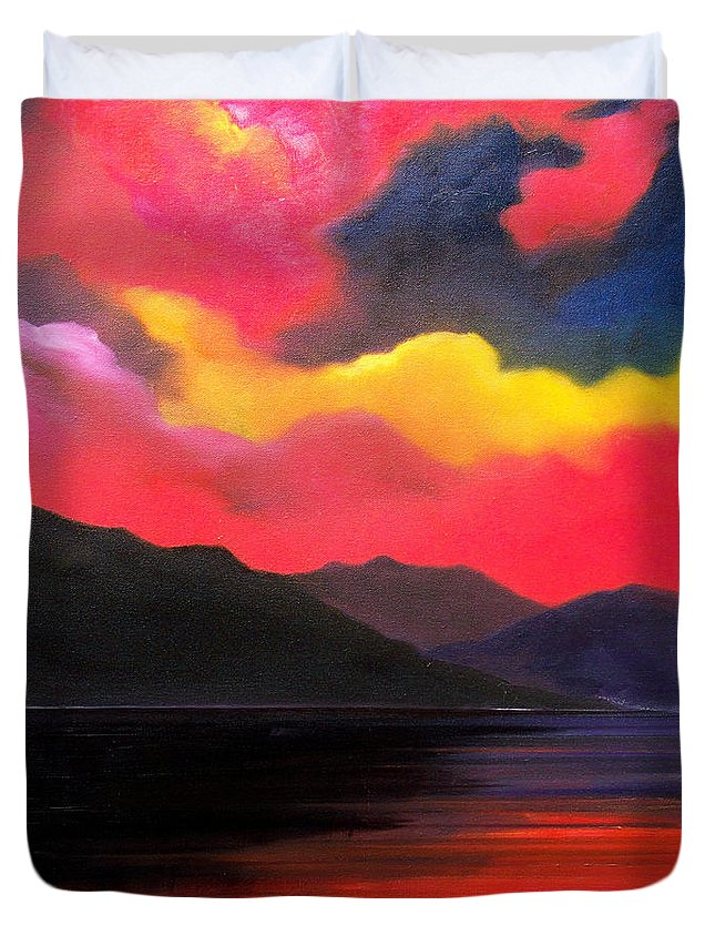 Surreal Duvet Cover featuring the painting Crimson clouds by Sergey Bezhinets
