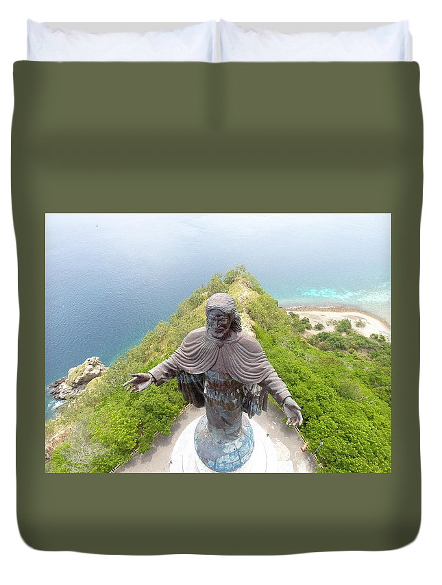 Adventure Duvet Cover featuring the photograph Cristo Rei of Dili statue of Jesus by Brthrjhn2099