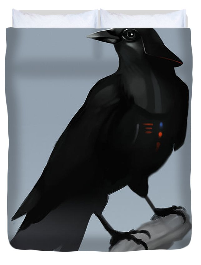 Birds Duvet Cover featuring the digital art Crow Vader by Michael Myers