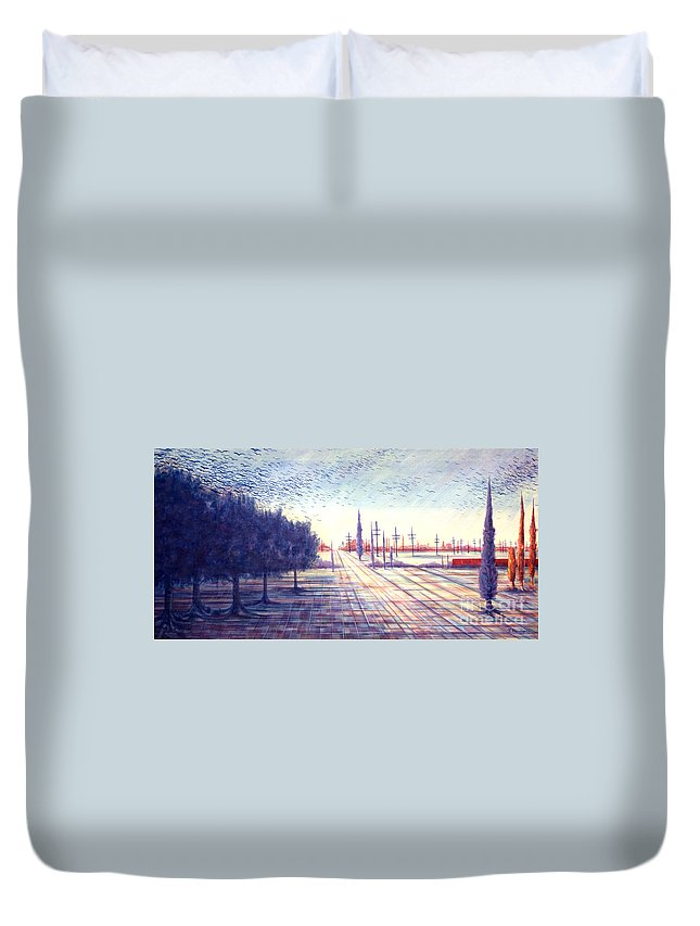 Crows Duvet Cover featuring the painting Crows by Judy Henninger