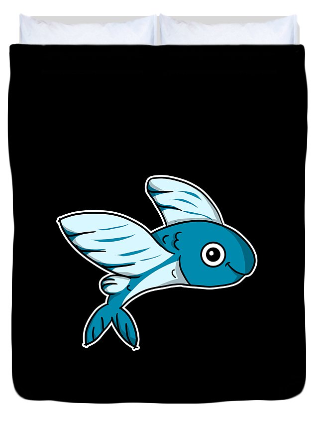 Flying Fish Duvet Cover featuring the digital art Cute Flying Fish Costume Fishing Gift Idea by J M