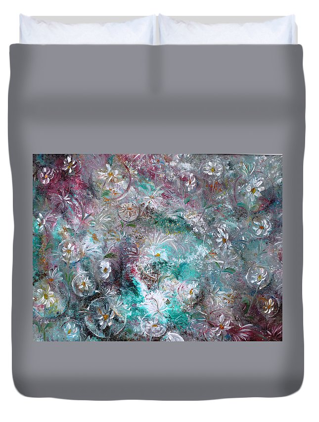 Original Flower Abstract Painting Duvet Cover featuring the painting Daisy Dreamz by Karin Dawn Kelshall- Best
