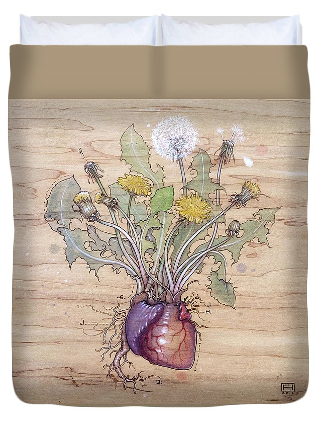 Dandelion Duvet Cover featuring the pyrography Dandelion Heart by Fay Helfer