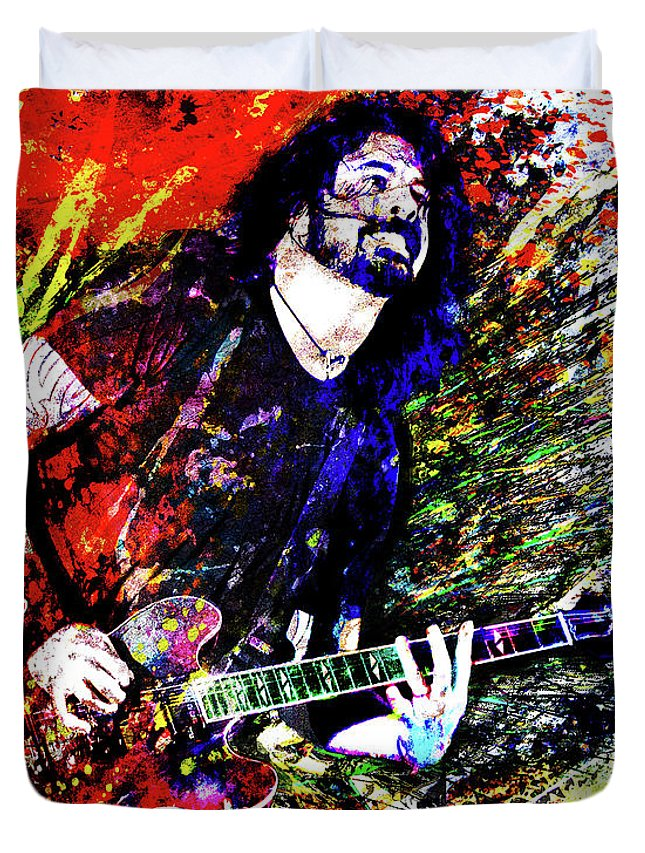 Dave Grohl Duvet Cover featuring the mixed media Dave Grohl Art by Ryan Rock Artist