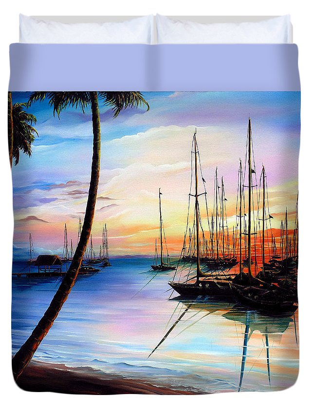 Ocean Painting Seascape Yacht Painting Sailboat Painting Sunset Painting Tropical Painting Caribbean Painting Yacht Painting At The End Of A Yachting Regatta At Pigeon Point Tobago Painting Duvet Cover featuring the painting DAYS END Yachting Regatta At Pigeon Point Tobago by Karin Dawn Kelshall- Best