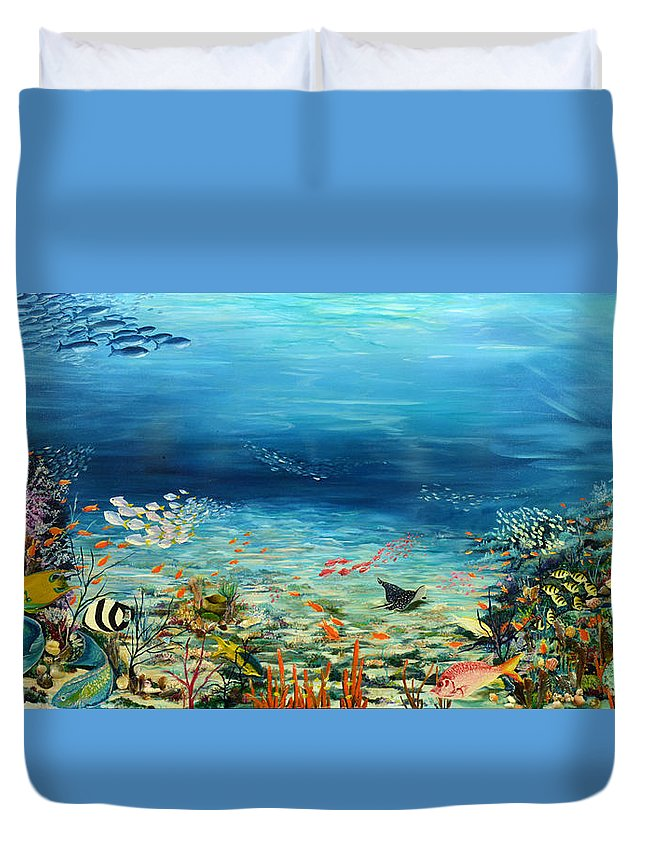 Ocean Painting Undersea Painting Coral Reef Painting Caribbean Painting Calypso Reef Painting Undersea Fishes Coral Reef Blue Sea Stingray Painting Tropical Reef Painting Tropical Painting Duvet Cover featuring the painting Deep Blue Dreaming by Karin Dawn Kelshall- Best