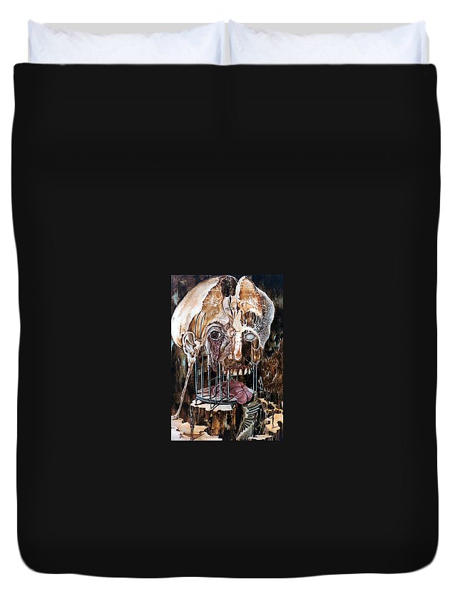 Surrealism Duvet Cover featuring the painting Deterioration Of Mind Over Matter by Otto Rapp
