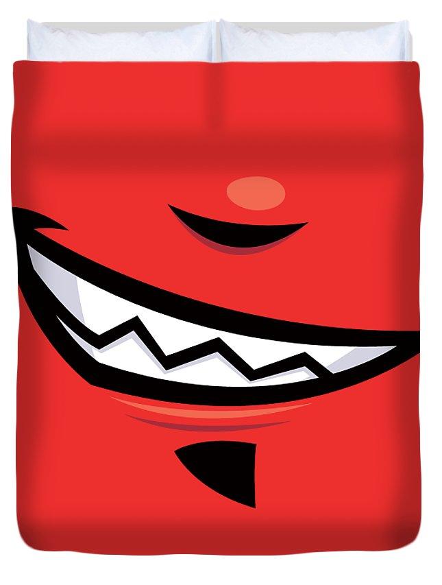 Grin Duvet Cover featuring the digital art Devilish Grin Cartoon Mouth by John Schwegel