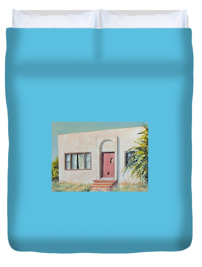 House Duvet Cover featuring the painting Once was a Home by Philip Fleischer