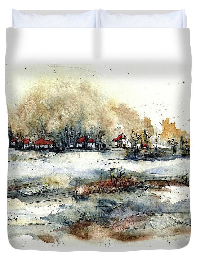 Rural Landscape Duvet Cover featuring the painting Distant Houses by Aniko Hencz
