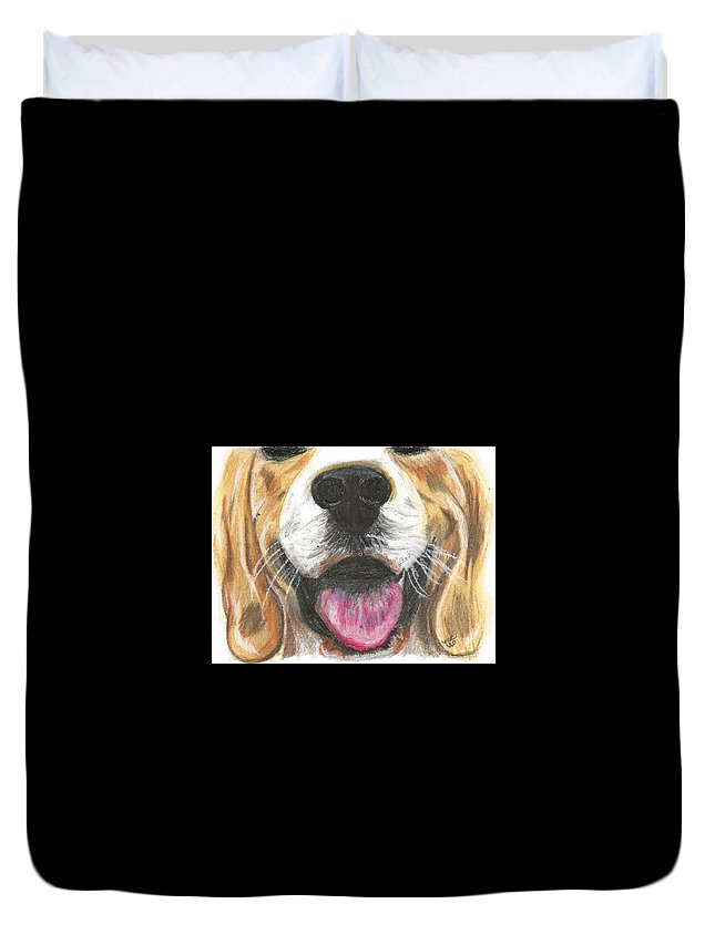 Dog Face Duvet Cover featuring the painting Dog Face by Monica Resinger