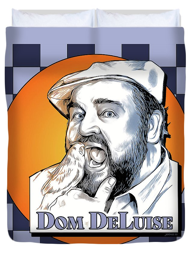 Dom Deluise Duvet Cover featuring the digital art Dom and the Bird by Greg Joens