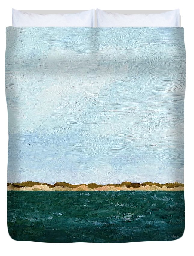 Lake Duvet Cover featuring the painting Dunes of Lake Michigan with Big Sky by Michelle Calkins