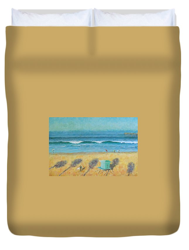 Life Guard Tower Duvet Cover featuring the painting Tower Number Seven by Philip Fleischer