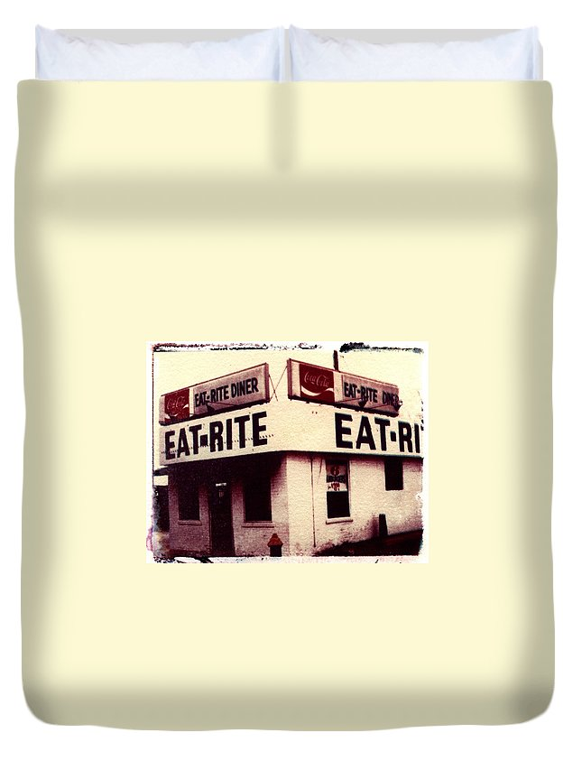 Polaroid Transfer Duvet Cover featuring the photograph Eat Rite by Jane Linders