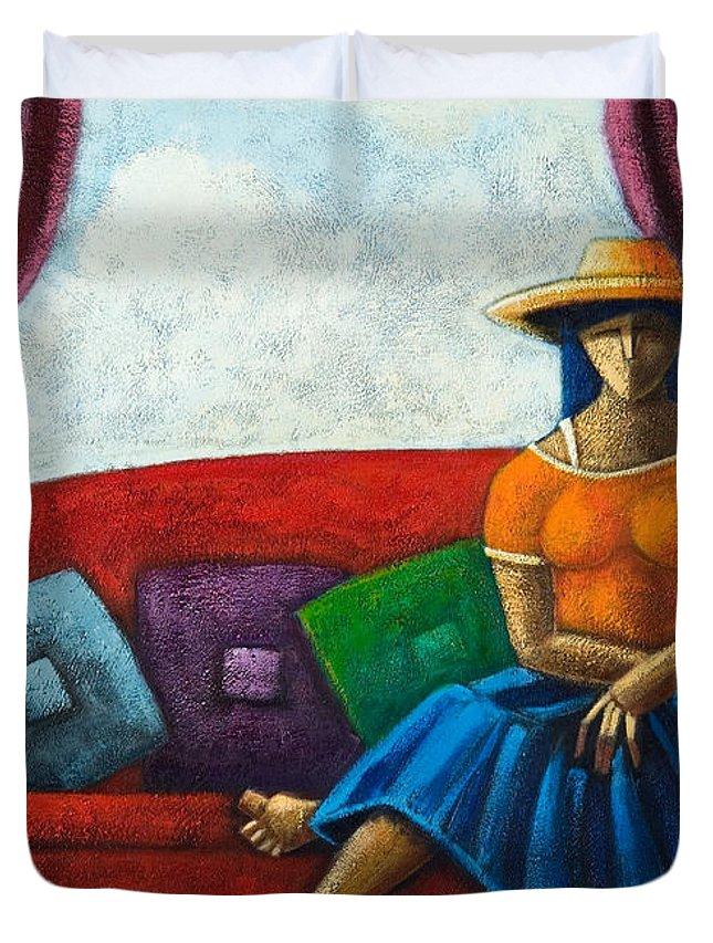 Puerto Rico Duvet Cover featuring the painting El Ultimo Romance Del Verano by Oscar Ortiz