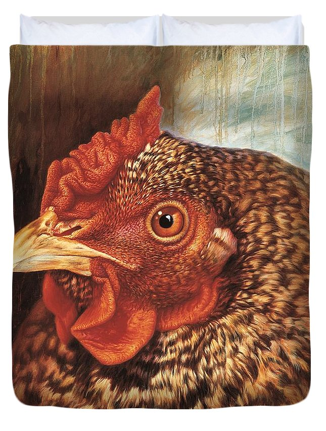 Chicken Duvet Cover featuring the painting Eleanor3 by Hans Droog