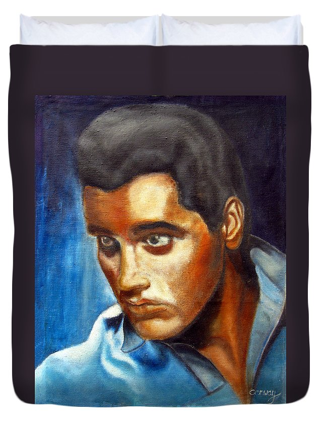 Elvis Duvet Cover featuring the painting Elvis Presley - moody blue by Tom Conway