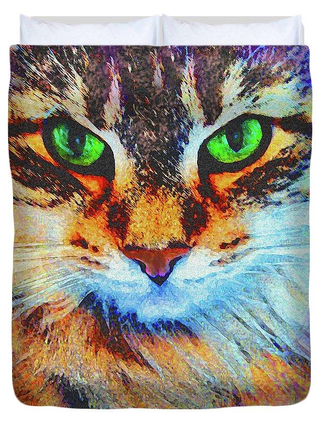 Emerald Gaze Duvet Cover featuring the digital art Emerald Gaze by John Robert Beck