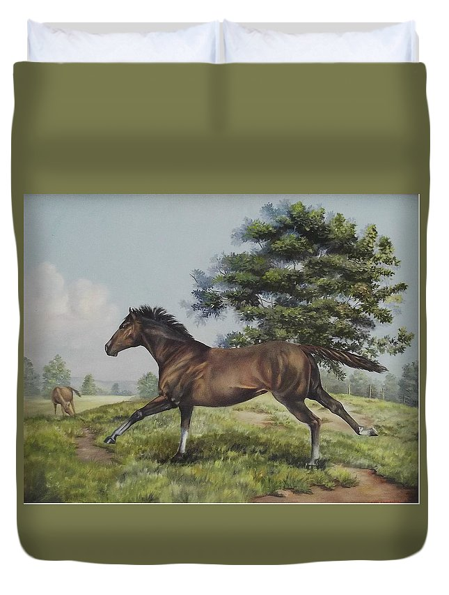 Horse In Field Duvet Cover featuring the painting Energy To Burn by Wanda Dansereau
