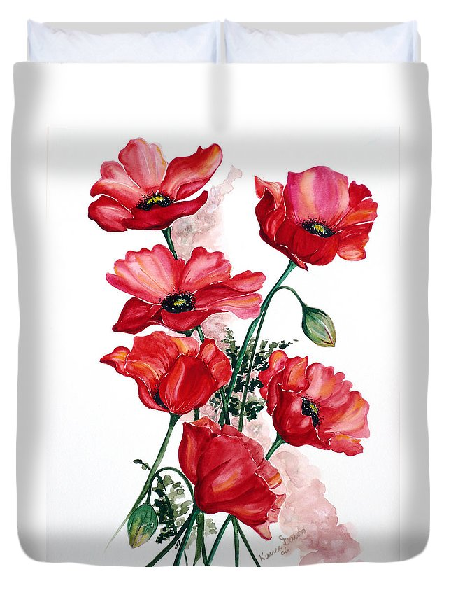 Original Watercolor Of English Field Poppies Painted On Arches Watercolor Paper Duvet Cover featuring the painting English Field Poppies. by Karin Dawn Kelshall- Best